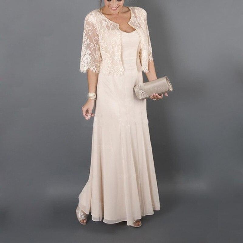 2019 élégante mère des robes de mariée avec veste Cap manches chérie décolleté une ligne longue en mousseline de soie robe pour la fête de mariage - 5