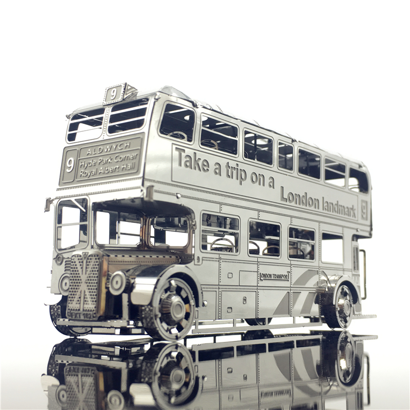 MMZ MODEL Nanyuan 3D Metal Model Kits London Bus Car Assemble Model Puzzle  I22207 2 Sheets  DIY 3D Laser Cut Jigsaw Toy