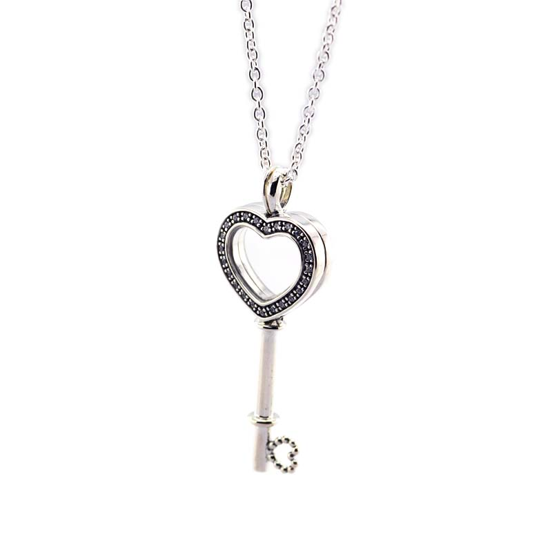 925 Sterling Silver Floating Locket Heart Key Necklace & Pendant Fit Brand Petites DIY Necklace For Women Valentine's Day Gift