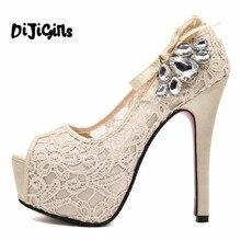 Новинка летние свадебные женские туфли европейского бренда туфли на платформе и высоком каблуке женские туфли-лодочки со стразами