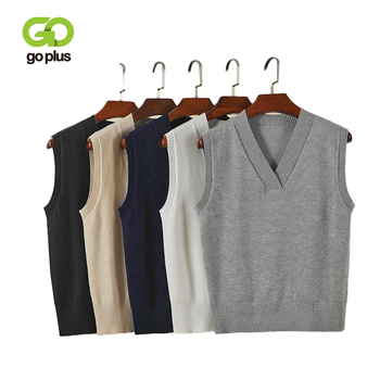 GOPLUS 2020 Fashion Spring Solid Knitted Vest Women V-Neck Cotton Sleeveless Pullovers Ladies Elastic Befree Sweater Female Tops