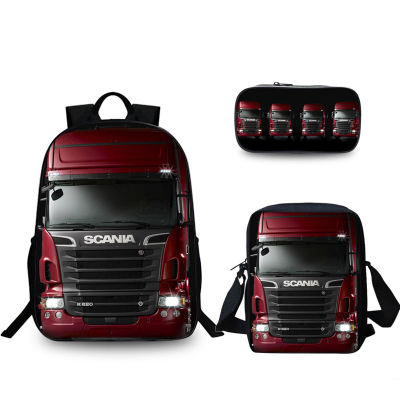 3 PCS/SET Fashion Scania 2017 Cartoon 3D Backpack For Teenagers Boys truck Girls Hot Selling School Bag Travel Laptop Backpack image