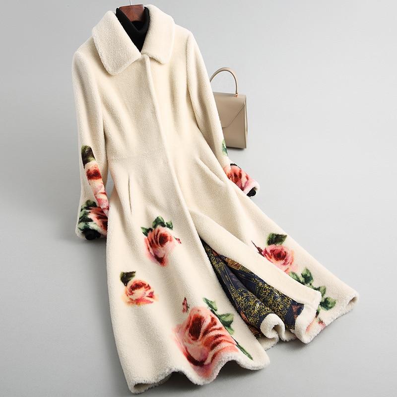 Outono Inverno 2019 Novo Verdadeira Pele De Ovelha Casaco De Corte Flor de Impressão Genuínos das Mulheres Jaqueta De Lã Longo Sobretudo M-XL