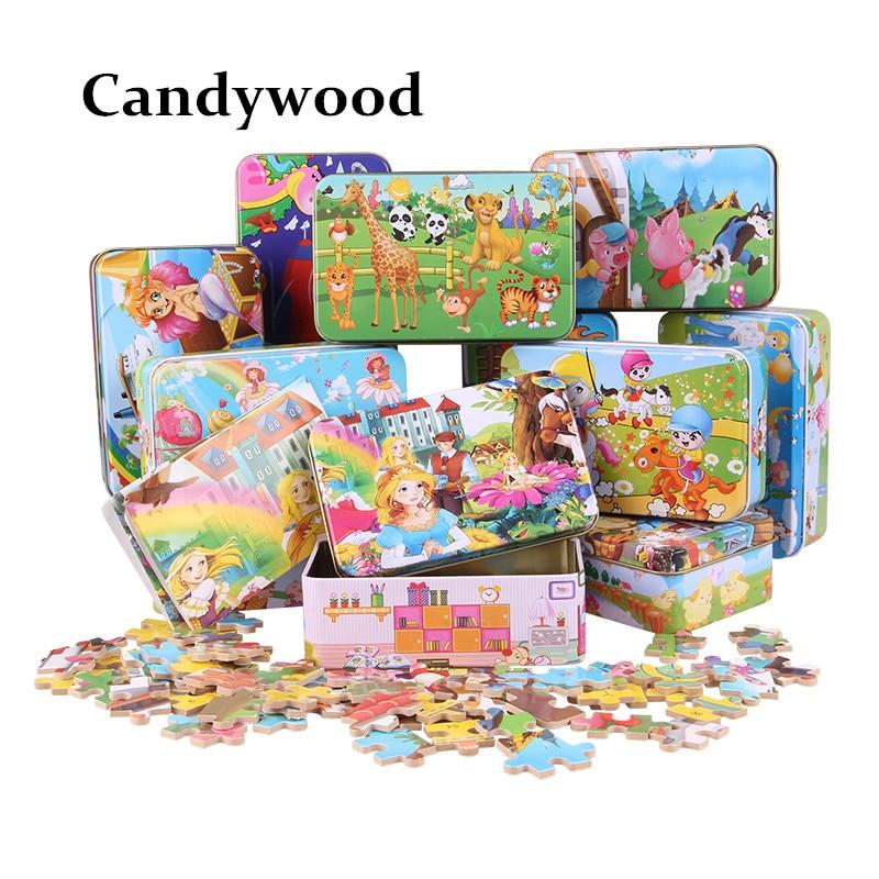 Candywood 60pcs Cizgi filmi Heyvan Puzzle Dəmir Qutusu Uşaqlar - Bulmacalar - Fotoqrafiya 5