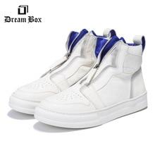 цена Korean Version Of The Wild Мужская обувь Men's Zipper White Shoes High To Help Leather Shoes онлайн в 2017 году