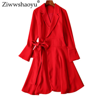 Ziwwshaoyu Simplee Solid dresses Office Lady Sashes Flare Sleeve temperament dress 2019 spring and summer new women