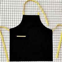Schwarz Leinwand Schürze Maßgeschneiderte Logo & Name Cafe Bar Bistro Bäckerei Uniform Home Backen Chef Barista Floristen Arbeitskleidung B86