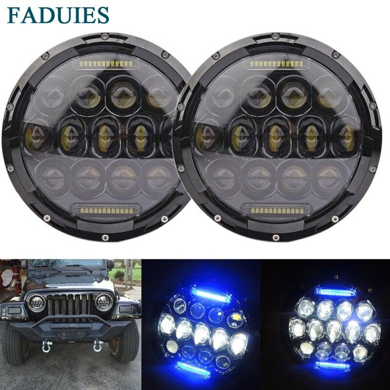 مصابيح أمامية LED مستديرة 75 وات 2psc 2psc من قطعة واحدة للسيارة Jeep Wrangler JK CJ LJ Hummer H1 H2 مصابيح قيادة بجهاز عرض أزرق DRL