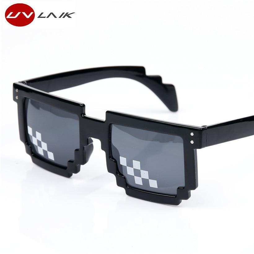 UVLAIK Thug Life Mosaic Pixel Glasses حول العالم 8 بت تتعامل معها It النظارات الشمسية الرجال النساء نظارات شمسية للحزب