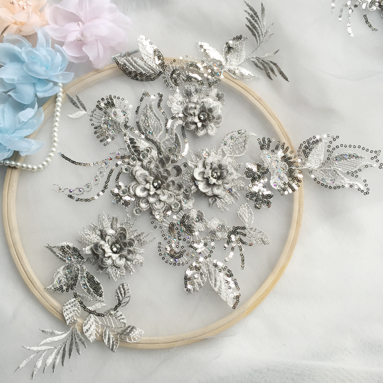 Entertainment Memorabilia Hard-Working Grey Beaded Lace Embroidery Big Flower Patch Childrens Wedding Dress Costume Diy Decorative Flower Flower Stickers Rs384 Traveling Music Memorabilia