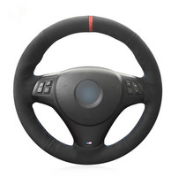 Comfortable Soft Durable Black Suede Genunie Leather Hand Sew Wrap Car Steering Wheel Cover for BMW M3 2009 2013 E92