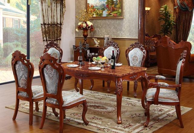 American Style Marble Table New Clical High Grade Solid Wood Carving Rectangle Six Person