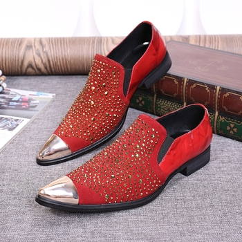 White/red/black rhinestone real suede leather wedding oxfords for men high quality groom shoes iron head men shoes free shipping