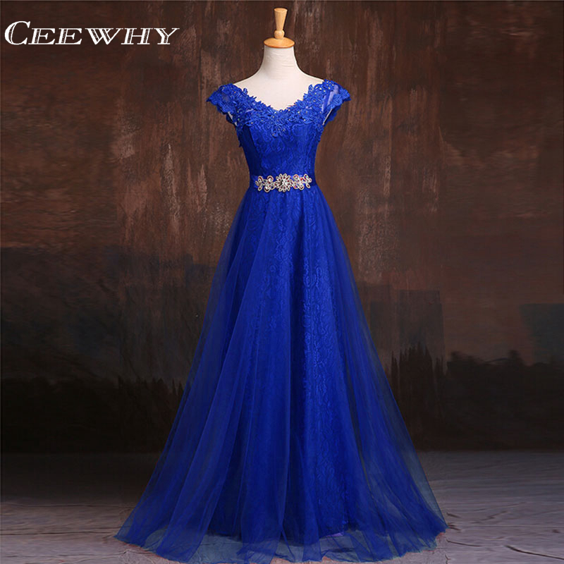 CEEWHY Sleeveless Lace Formal Dress Royal Blue Evening Dress A-Line Prom Party Dress Crystal Evening Gown Vestido De Festa