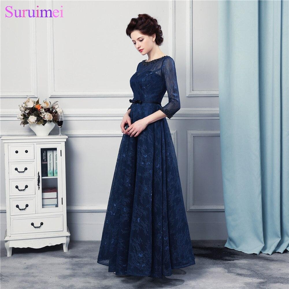 2017 New Design Marinha Azul Vestidos de Noite Longos Rendas de Alta Qualidade Até O Chão Três Quartos Mangas Espartilho Vestido de Noite Formal - 3