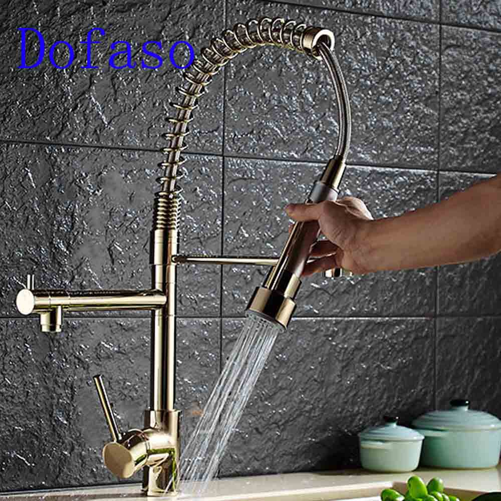 Dofaso luxury spring kitchen faucet gold hot and cold Water mixer faucets 360 rotate sink Kitchen Faucet 360 rotate kitchen water faucet tap mixer cold