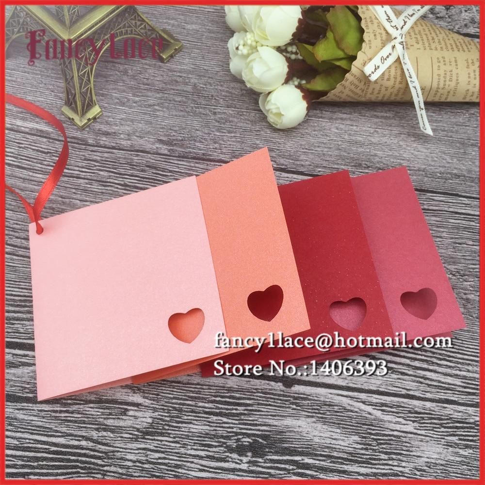 50PCS diy love heart Pearl Paper Wish Cards solid Table Mark Hang ...