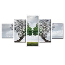 5 Pcs/Set Abstract big tree series kiss Wall Art Painting Canvas Printed Painting for Living Room Home Decor Picture/(China)