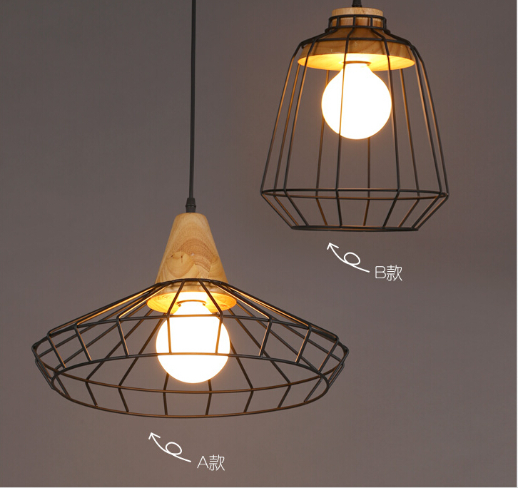 Industrial Cage Pendant Lamps Design American Country Wrought Iron E27 220v Hanging Fixtures Modern Kitchen Dining Room Lighting Lights & Lighting