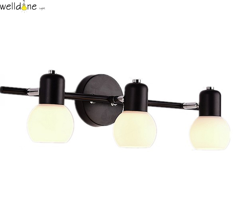 LED wall mounted lamp modern style glass&iron light for bedroom bathroom vanity 3/4 heads free shipping 1 piece free shipping anodizing aluminium amplifiers black wall mounted distribution case 80x234x250mm