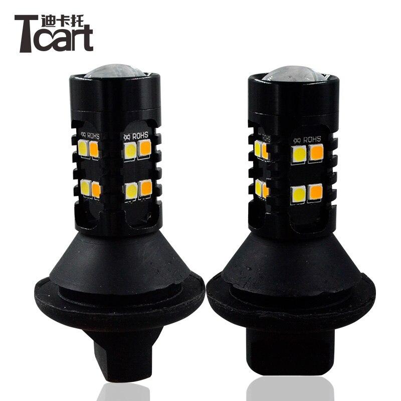 Tcart 2pcs Auto Led T25 3157 For Nissan X-trail T31 Leaf 2014 Car DRL LED White Daytime Running Light Turn Signal External Lamps