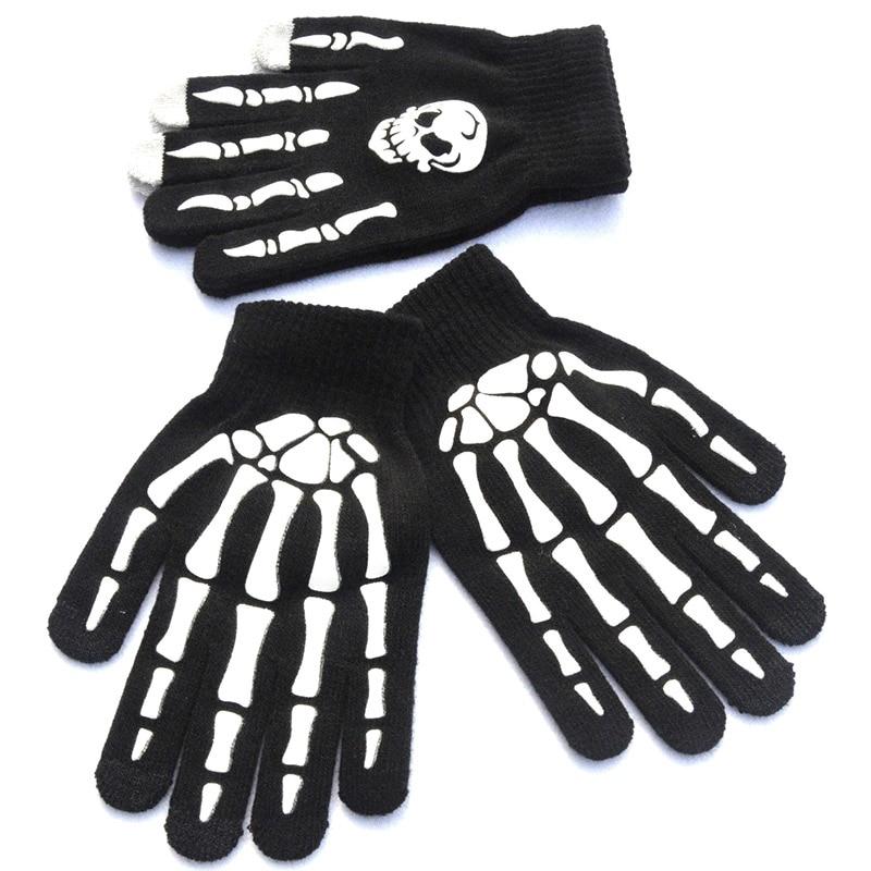 Novelty Print Cartoon Skull Claw Winter Knit Warm Outdoor Sports Cycling Gloves Men Women Cool Full Finger Dancing Gloves B52