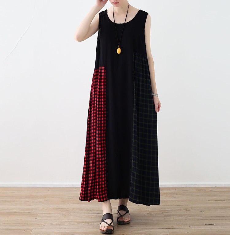 Été sans manches robes décontractées 2018 femmes lâche Plaid Patchwork sans manches plissé o-cou cheville longueur plage robe grande taille