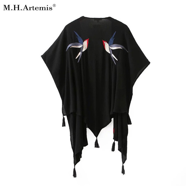 M.H.Artemis Chic Chinese Style Bird Embroidery Vintage Oversized Tassel Long Loose Beach Kimono Cover Up Coat 2016 New Trendy