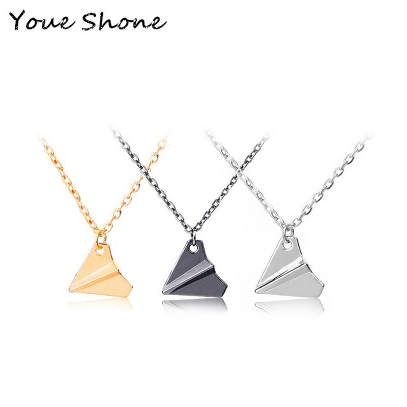Fashion creative jewelry paper airplane necklace Jewelry one direction retro pendant necklace Chain popular men's necklace