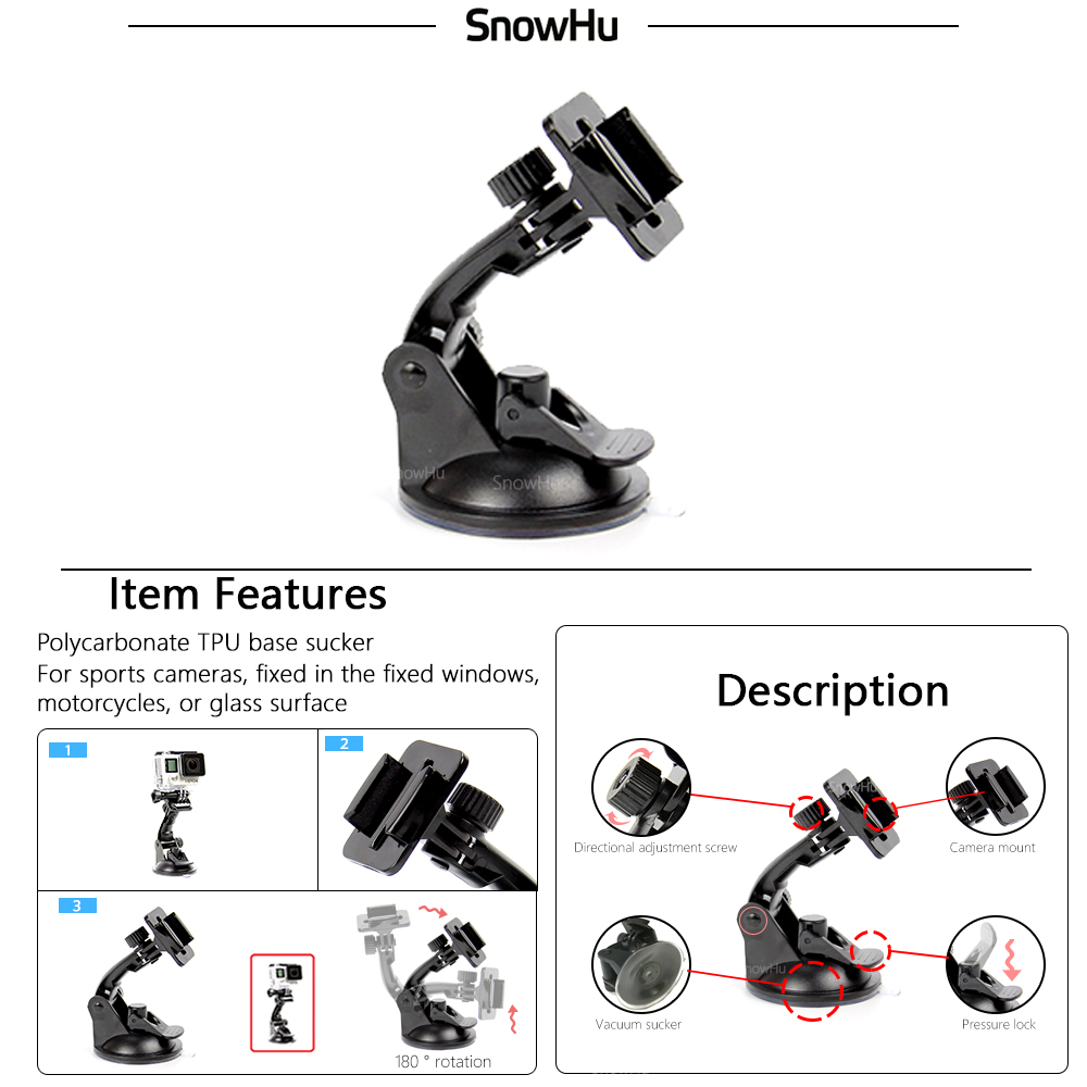SnowHu para Gopro accesorios para ir pro hero7 6 5 5S kit tres selfie palo para Eken h9 xiaomiyi 4 K caso de EVA GS18 - 4