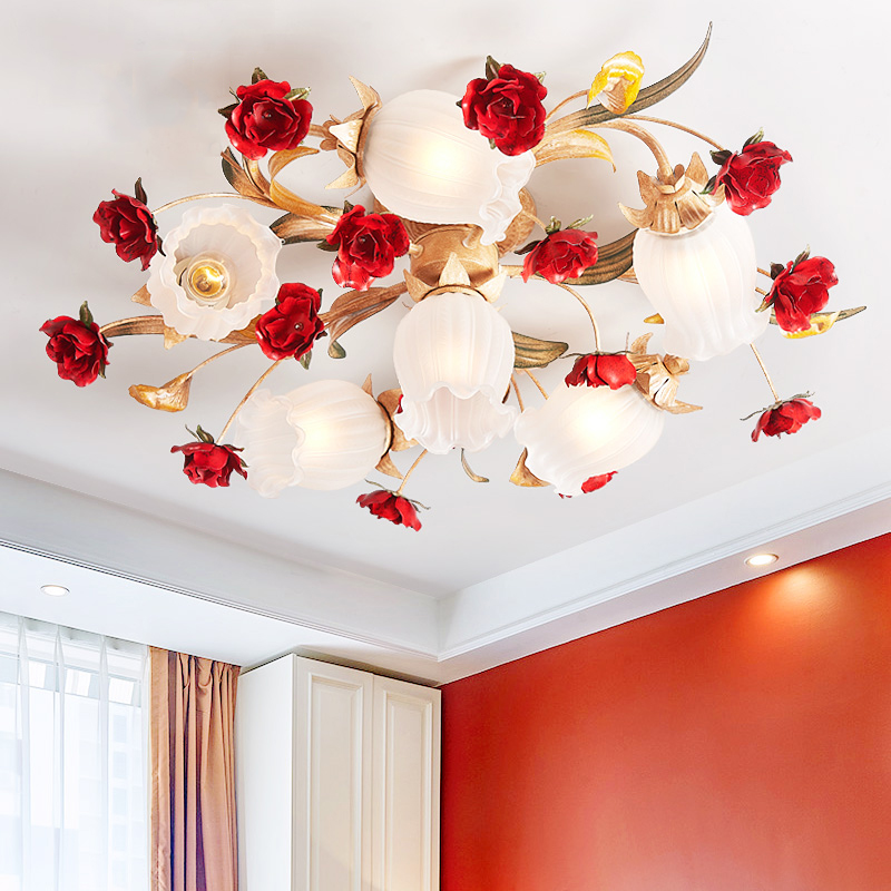 Nordic Art Deco Rural Red Flower Plant Led Lamp Ceiling Lights For Wedding Marriage Living Room Bedroom Home Decorative Lighting