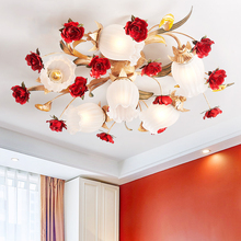 Nordic Art Deco Rural Red Flower Plant Led Lamp Ceiling Lights For Wedding Marriage Living Room Bedroom Home Decorative Lighting