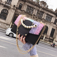 2018 new wave sequins laptop shoulder bag personality explosions Messenger bag small square package