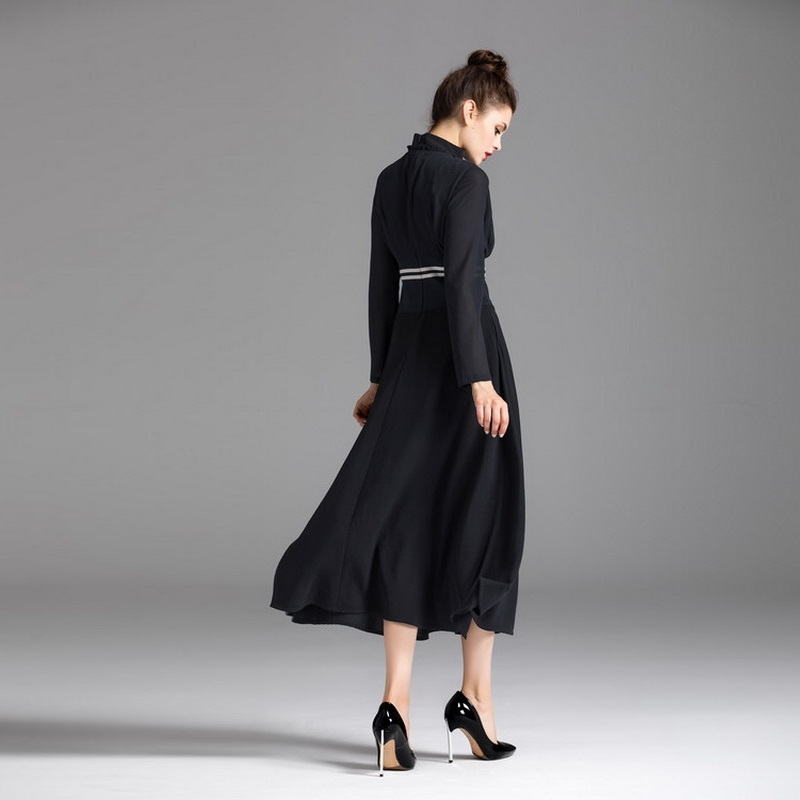 Robe Automne Dres Montant Feminino Plissé Hiver Empire Robes Vintage Col Manches Femmes S 60 2017 Partie Patchwork Longues qEHwxq4
