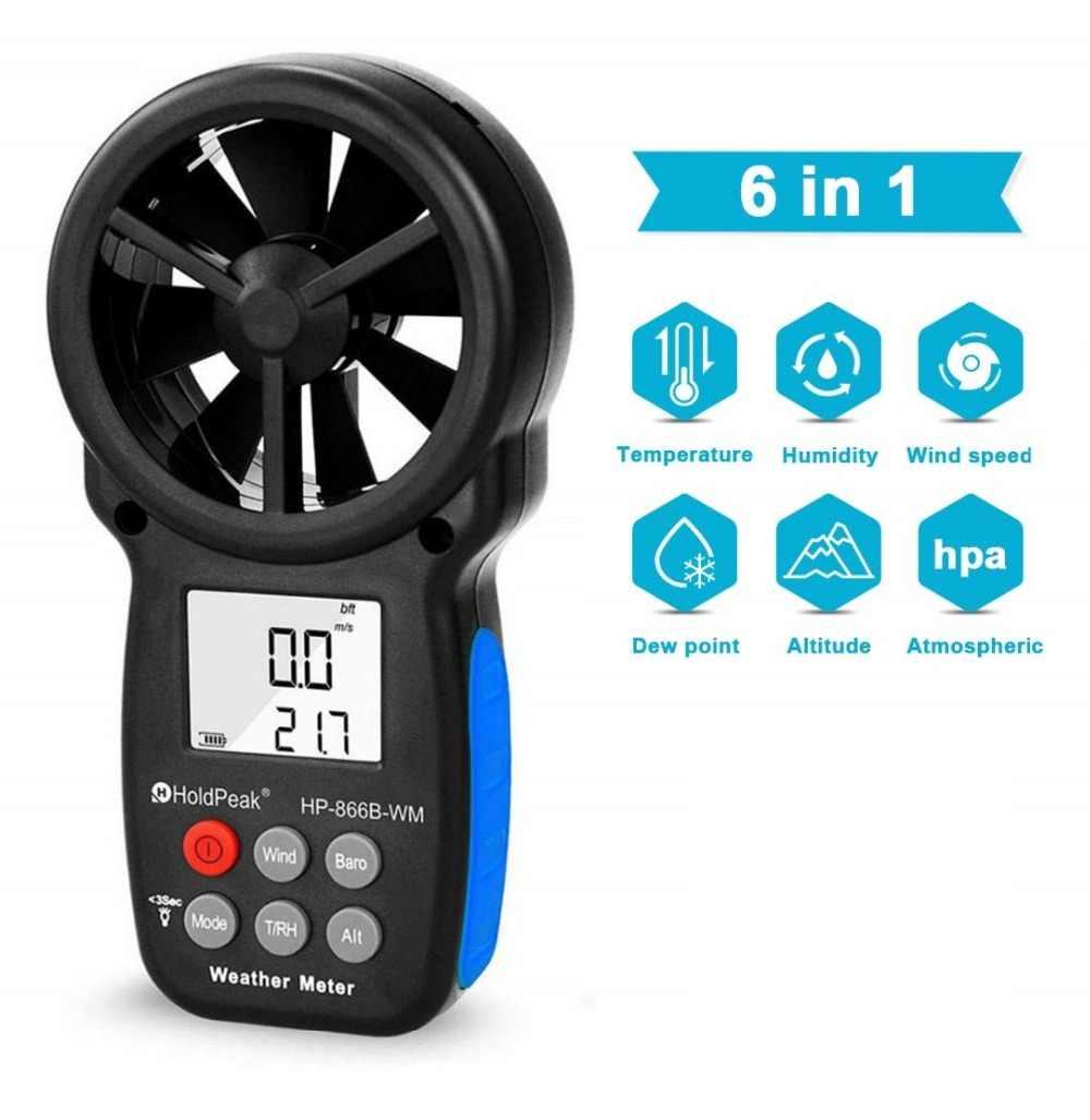 Anemometer Holdpeak HP-866B-WM Kecepatan Angin Meter Digital Sensor Piala Anemometro 30 M/S LCD Genggam Alat Ukur Kelembaban Udara