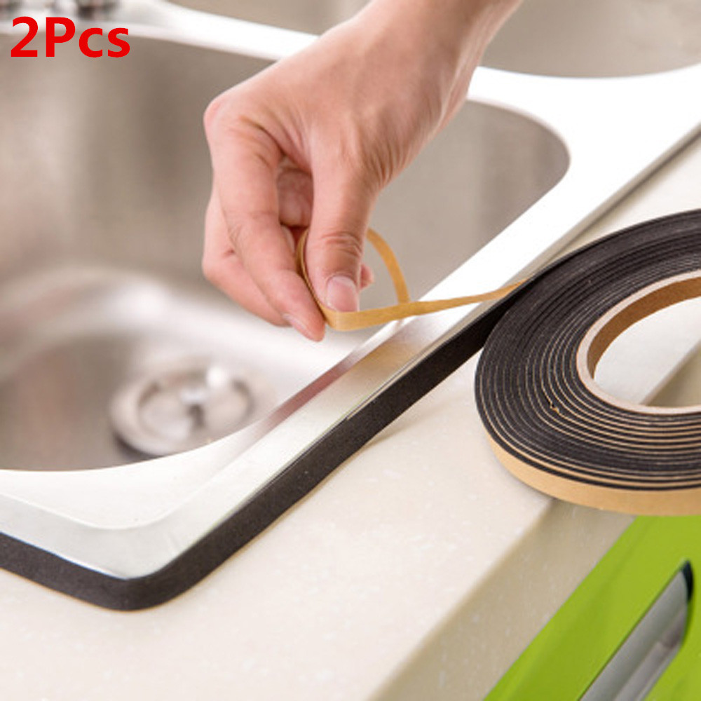 2Pcs Kitchen Gas Stove Gap Sealing Adhesive Tape Anti Flouring Dust Proof Waterproof Sink Stove Crack Strip Gap Sealing#X