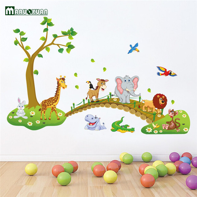 Jungle Animals Bridge Vinyl Wall Stickers Kids Bedroom Wallpaper Decals Cute Anime Baby Children Cartoon