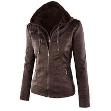 Warm jacket winter women Zipper Up Leather jackets Women Slim Solid Outwear Parka Trench Coat Jacket Wear