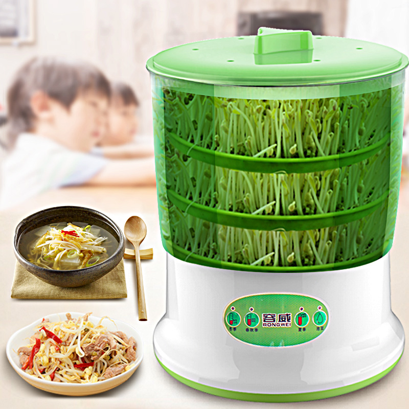 Home Electric Bean Sprout Machine 2 Layers 3 Layers Full Automatic Large Capacity Thermostat Green Seeds Plant Growing Machine bear three layers of bean sprouts machine intelligent bean sprout tooth machine dyj b03t1