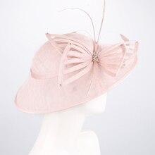 Fascinators chapeaux mariages pour femmes lin Fedora Vintage dames église robe Sinamay Derby chapeaux Cocktail thé fête chapeaux