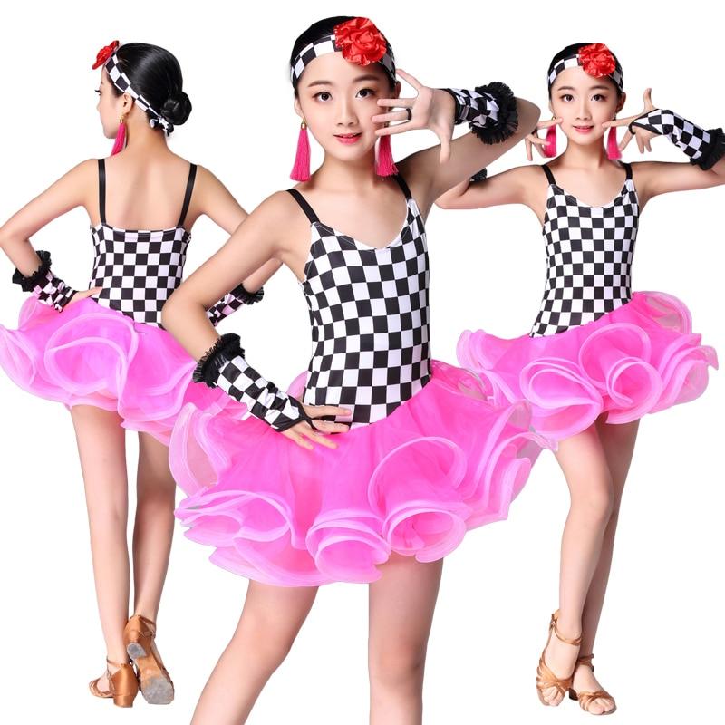 Kid Clothes Girl Dancing Latin Dress Pink Competition Performance Dresses Girl Practice Latin Skirt Children Clothing Skirt