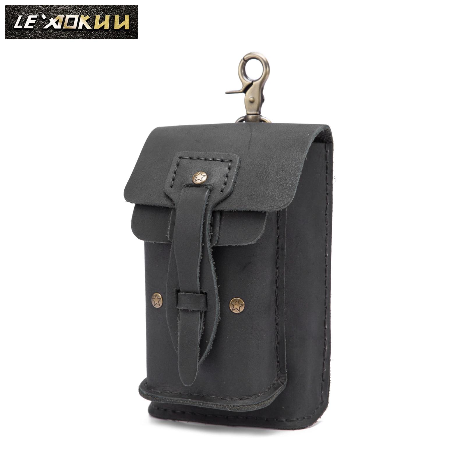 Crazy Horse Leather Men Casual Design Small Waist Bag Ashion Hook Bum Bag Waist Belt Pack Cigarette Case 5
