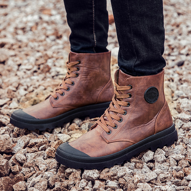 Hot sale british mens brand ankle boot mens casual shoes pu leather shoes martins high-top zapatos mujer size 39-44 L162M