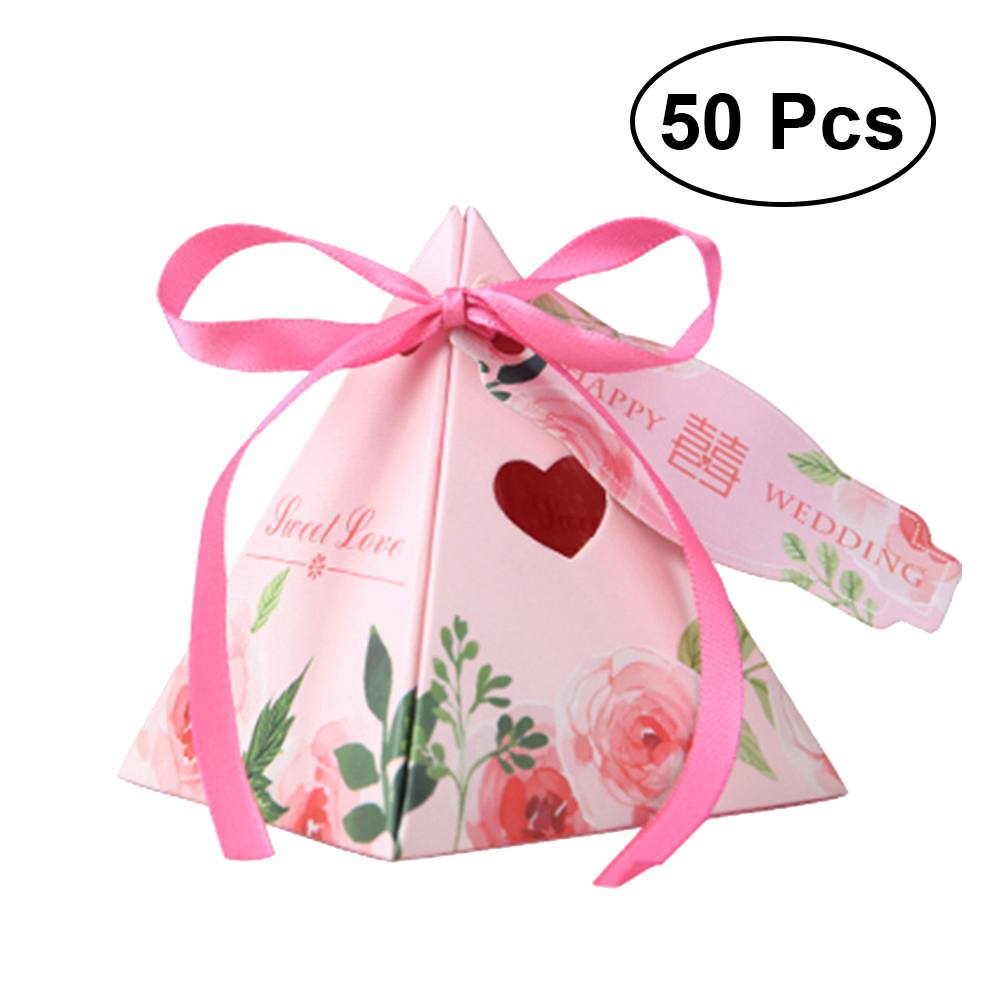 Pyramid Floarl Candy Box Wedding Favor Boxes Chocolate Candy ...