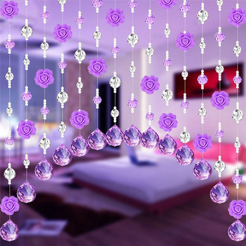 2018 Crystal Glass Rose Bead Curtain Luxury Living Room Bedroom Window Door Wedding Decor Katana Bedroom Decor Decoracion