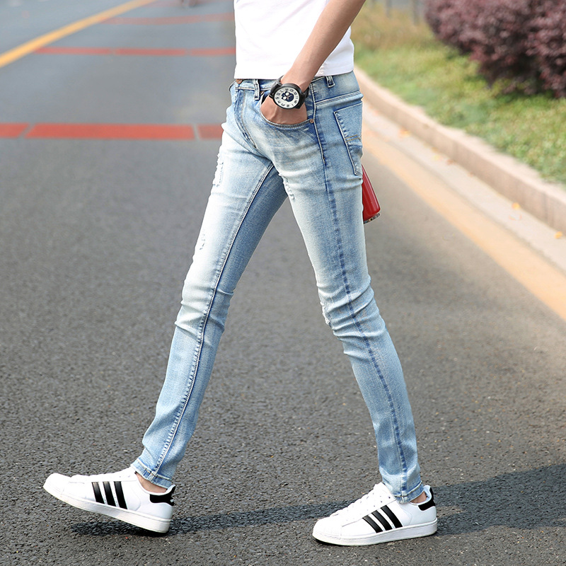 Online Shop skinny jeans men light blue vintage slim fit denim ...