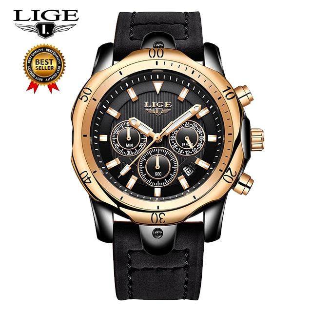 Mens Watches LIGE Top Brand Luxury Casual Leather Quartz Clock Male Sport Waterproof Watch Gold Watch Men Relogio Masculino 9865 | Fotoflaco.net