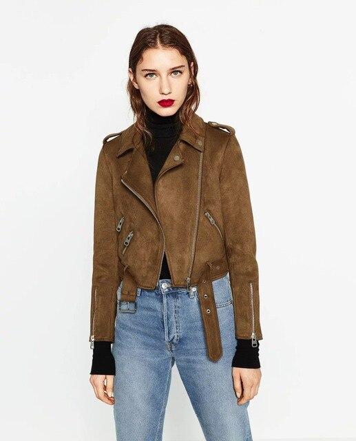e306053fc45f3 2017 nueva solapa complejo suede manos Delgadas chaqueta chaqueta marrón  mujer abajo chaqueta mujer chaqueta corta