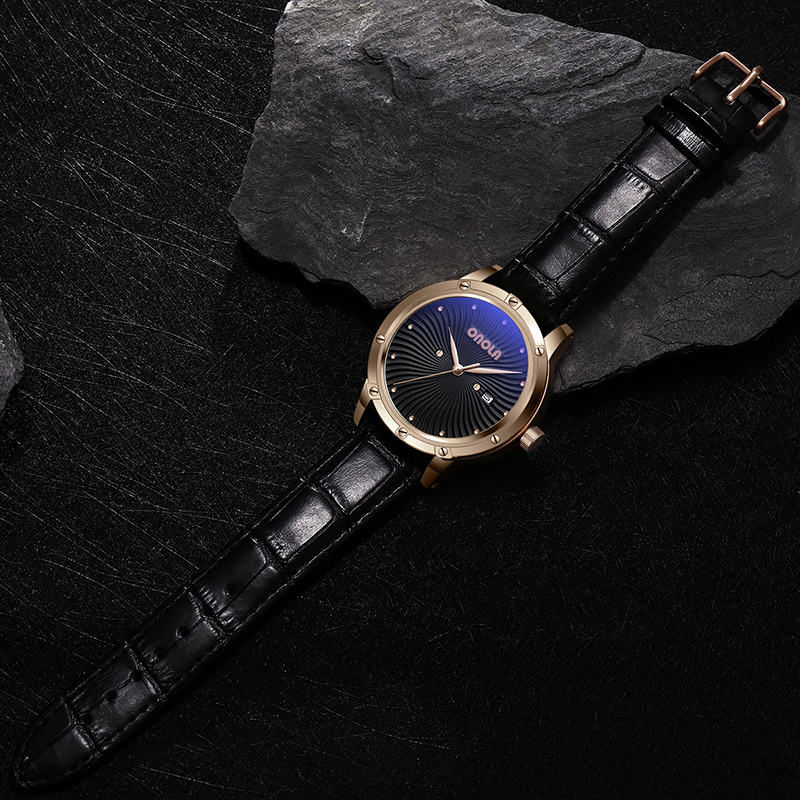 ONOLA High Quality Mens Military quartz Watch men Durable leather Fashion Sports Waterproof golden Men Wristwatch with Gift BOX