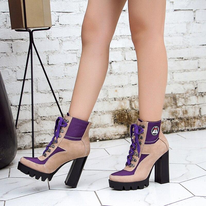 Nouveautés Up Cuir forme Sarairis Cheville Bottes En Véritable Parti Mode pourpre Femme Talons De Femmes Chaussures Spike Rose Plate Lace jR45AL